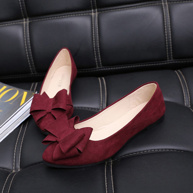 2016 spring single shoes women's shoes shallow mouth pointed toe flat heel platform bow small plus size black  Work shoes