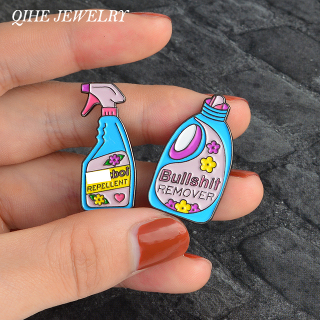 QIHE JEWELRY Pins and brooches Bullshit remover,XX repellent funny cleaning pin Badge Enamel pins Brooch Lapel pin