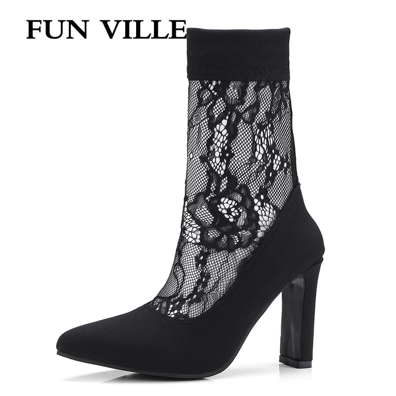 FUN VILLE 2018 New Fashion Summer Women Ankle Boots Suede Stretch Fabric High heels shoes Black Sexy Female Boots Lace up