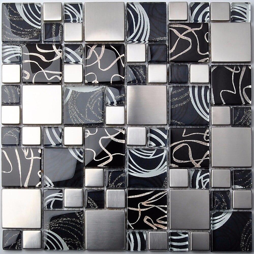 Coprire Piastrelle Cucina Con Pannelli mosaico di vetro piastrelle di metallo blu sliver foil nero