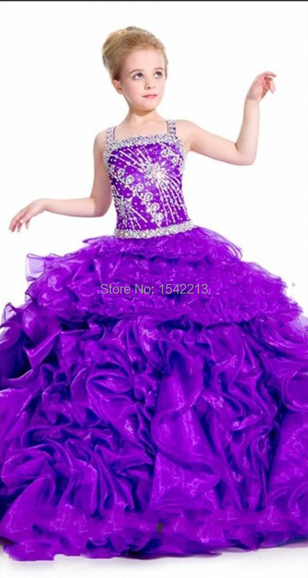 Modest Purple Princess Beaded Ball Gown Girls Pageant -7641