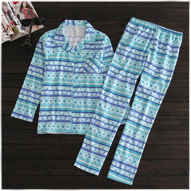 Mulheres floral azul pijamas 100% algodão tops de Manga Longa e calças compridas de pijama terno camisas de noite das mulheres roupa interior