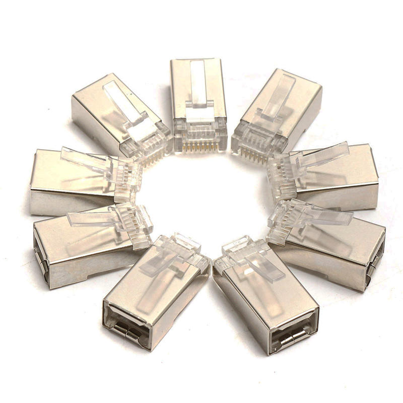 New Arrival 50Pcs Network Connector RJ45 Modular Plug Cat6 8Pin 8P8C Metal Shielded Stranded Crimp Gold Plated Connector Socket imc hot 10 pcs rj45 8p8c double ports female plug telephone connector