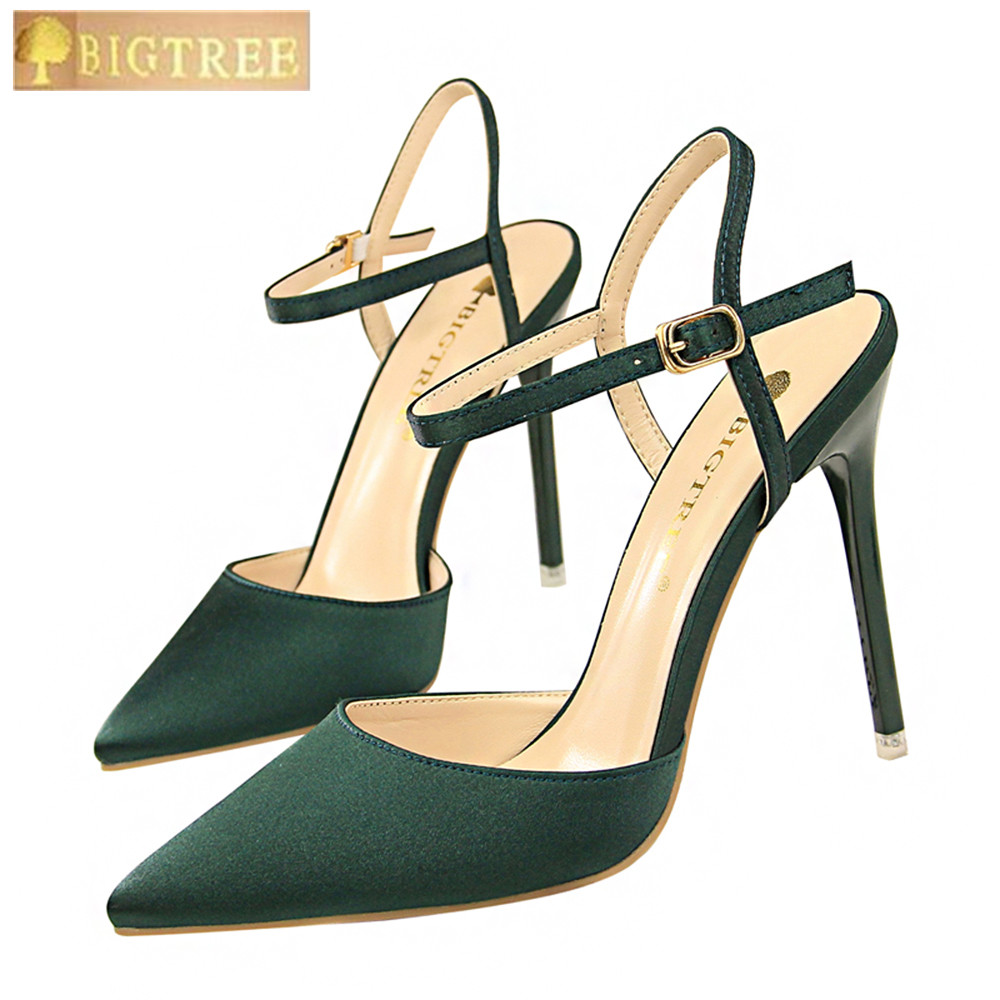 Simple Women Pumps 10.5CM Thin High Heel Satin Shallow Mouth Pointed Sexy Nightclub Thin Word Band Sandals Women's Shoes