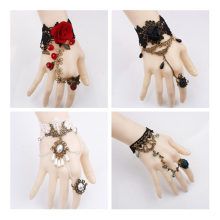 Halloween Cosplay Retro Steampunk Butterfly Black Lace Rose Lace Bracelet Palace Ball Ladies Bracelet Arm Sleeve(China)