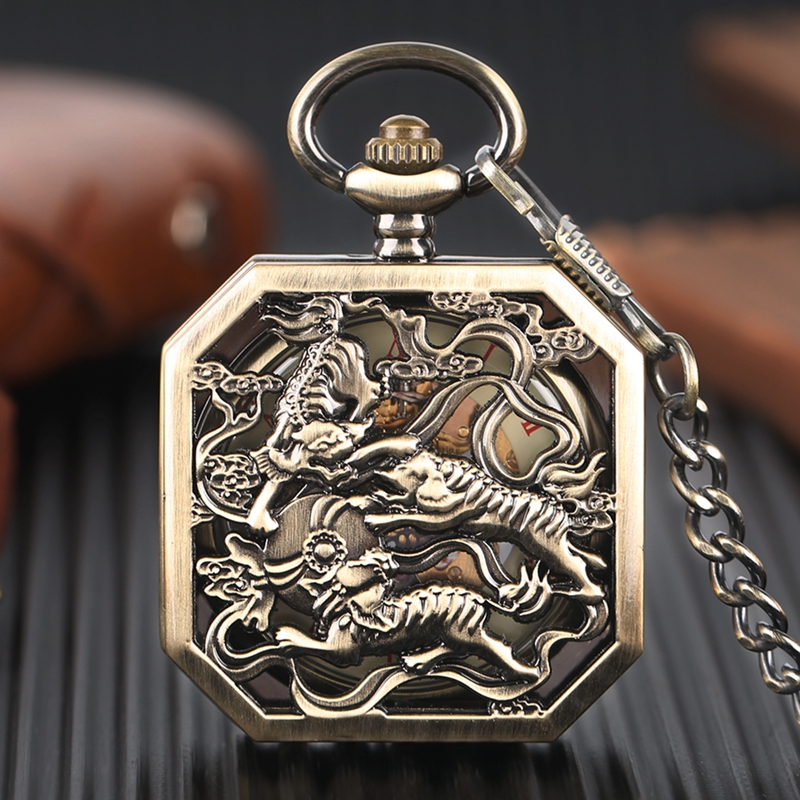 Square Mechanical Pocket Watch Fighting Tigers Hollow Carving Brave Symbol Bronze Pendant Chain Unique Men Clock Best Boys Gifts