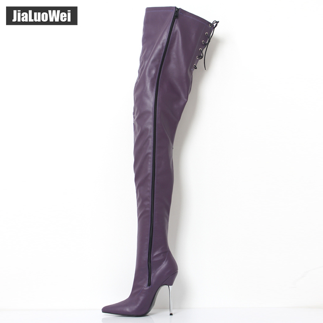 2018 Women's Winter/Autumn Folding Over the Knee Boots Sexy Thin High Heel Boots Fashion Pointed toe Boots Women Shoes Big Size 10
