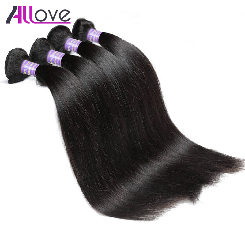 Allove Peruvian Straight Hair 4 Bundles Deal Natural Color Remy Human Hair Weave Bundles 8-28 Inch Natural Hair Extensions
