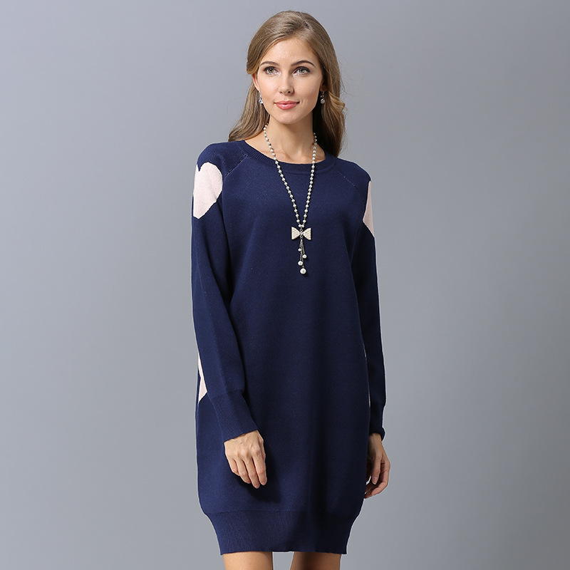 New Arrivals High Quality Autumn Winter Women Pullovers Knitted Sweaters Black Green Blue Loose Long Sweaters Dress Plus Size in Pullovers from Women 39 s Clothing