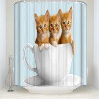 Pamięci Domu Trzy Zabawny Kot Puchar Zasłona prysznicowa Łazienka Wodoodporna Tkanina Poliestrowa Deseń Zwierząt Akcesoria Do Kąpieli z 12 Hakami