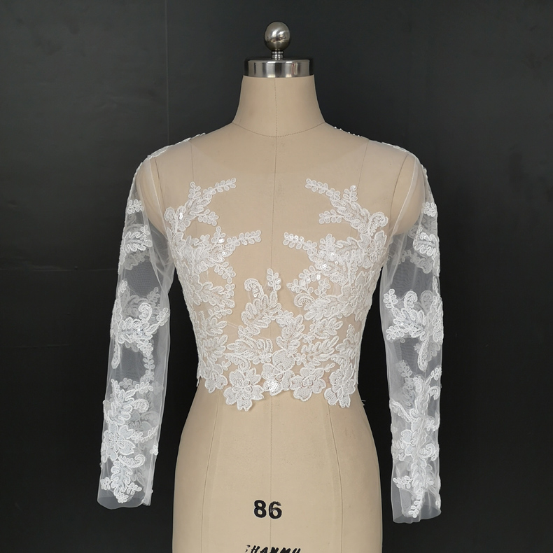 Round Collar Long Sleeve Wedding Dress, Lace Shawl Dress