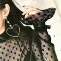Oco Coração Brincos Moda Jóias Elegante Banhado A Ouro de Presente do Amor Brincos Grande Queda Roupas Acessórios EJ1553