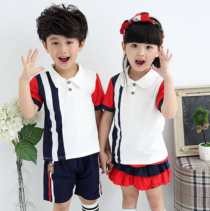 Solid Color Matching Sports Suit For A Boy Preppy Style Ropa De Nino Summer Costumes For Girls Cotton Unisex School Uniform