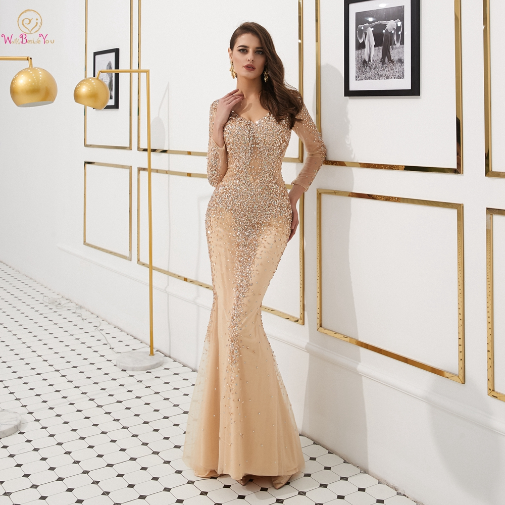 Prom Dresses Long Sleeves 2019 Champagne Beading Rhinestone Mermaid Long Evening Gown Women Couture Floor Length