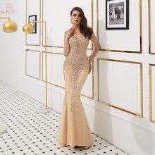 Выпускные платья с длинными рукавами 2020 цвета шампань с бусинами стразы русалка длинные женские вечерние платья от кутюр пол выпускного вечера