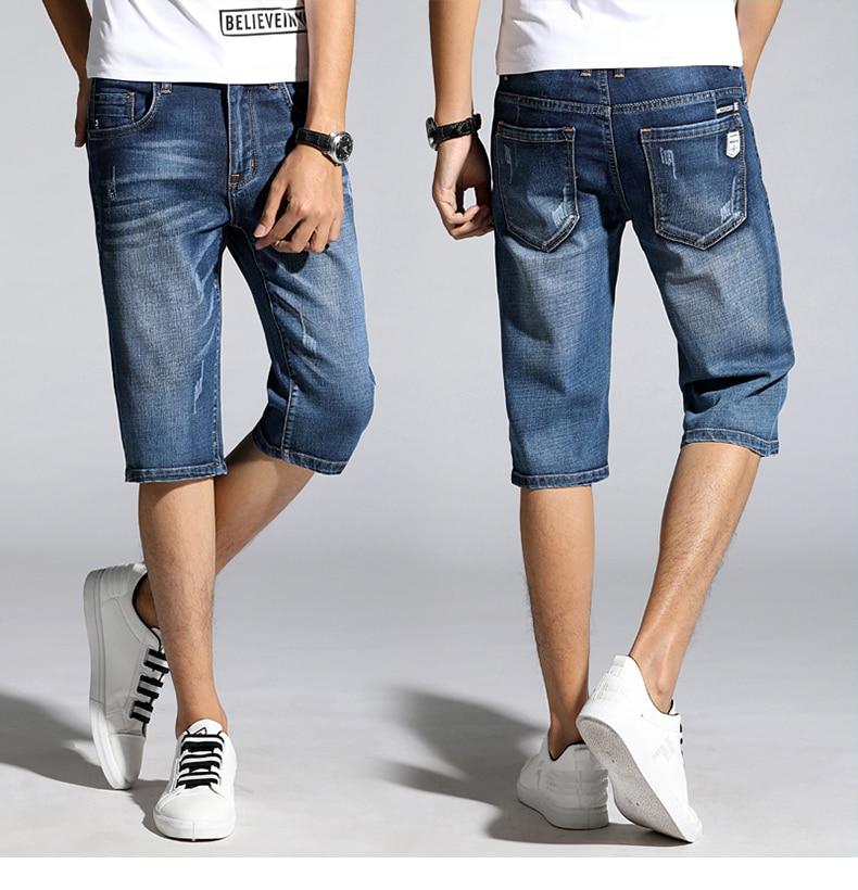 KSTUN Summer Shorts Jeans for Men New Arrivals Elastic Blue Scratched Fashion Pockets Denim Shorts Jeans Man Slim Fit Casaul Shorts 16