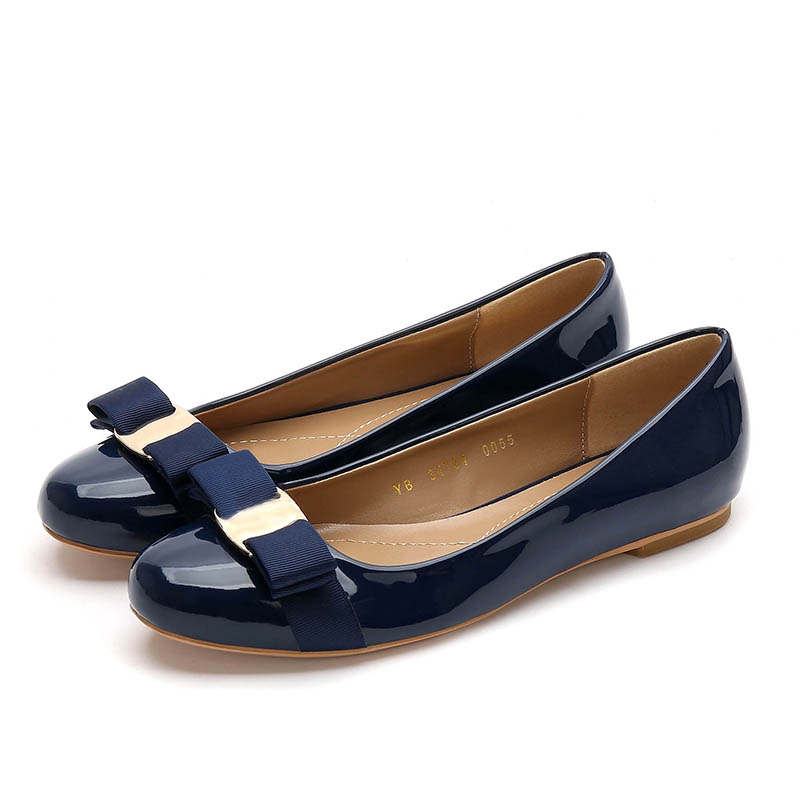 Free Shipping Spring Bow Patent Leather Round Head Thick with Shallow Mouth Work Shoes Low Heel