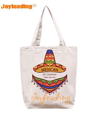 Joyloading Home Creative Cartoon Mexico Tourists Factors Design Reusable Grocery Shopping Bag Zipper Closure Foldable Tote Bag
