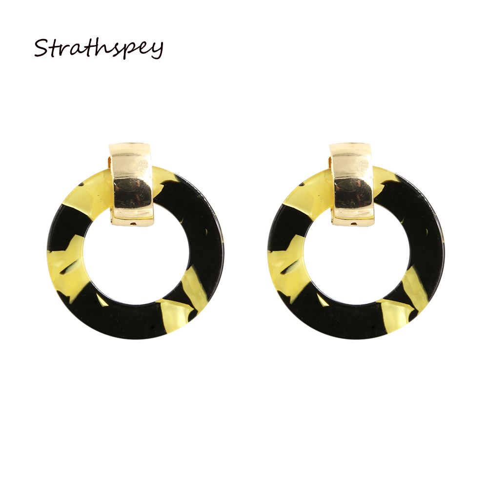 Top Popular Gift Acrylic Round Pendant Dangle Simple Drop Earrings Big Circle Black And Yellow Hoop Earrings For Women Jewelry mobile phone