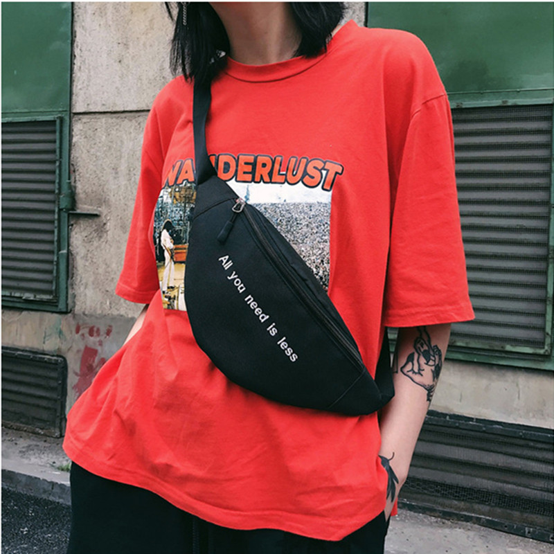 Canvas Harajuku Style Waist Bag for Women Men Unisex Fanny Pack Chest Packs Money Belt Buik Tasje Belly Bags Purse Chic Pouch