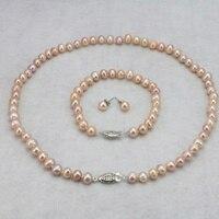 Hot Pink conjunto collar de perlas 6-7mm de Pescado del collar del corchete 18
