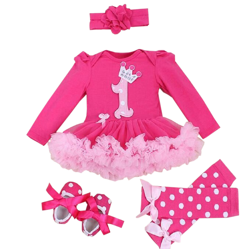 Baby Girl Clothing Sets baby Christmas Lace Tutu Romper Dress Jumpersuit+Headband+Shoes 4pcs Set Bebes First Birthday Costumes 1set baby girl polka dot headband romper tutu outfit party birthday costume 6 colors