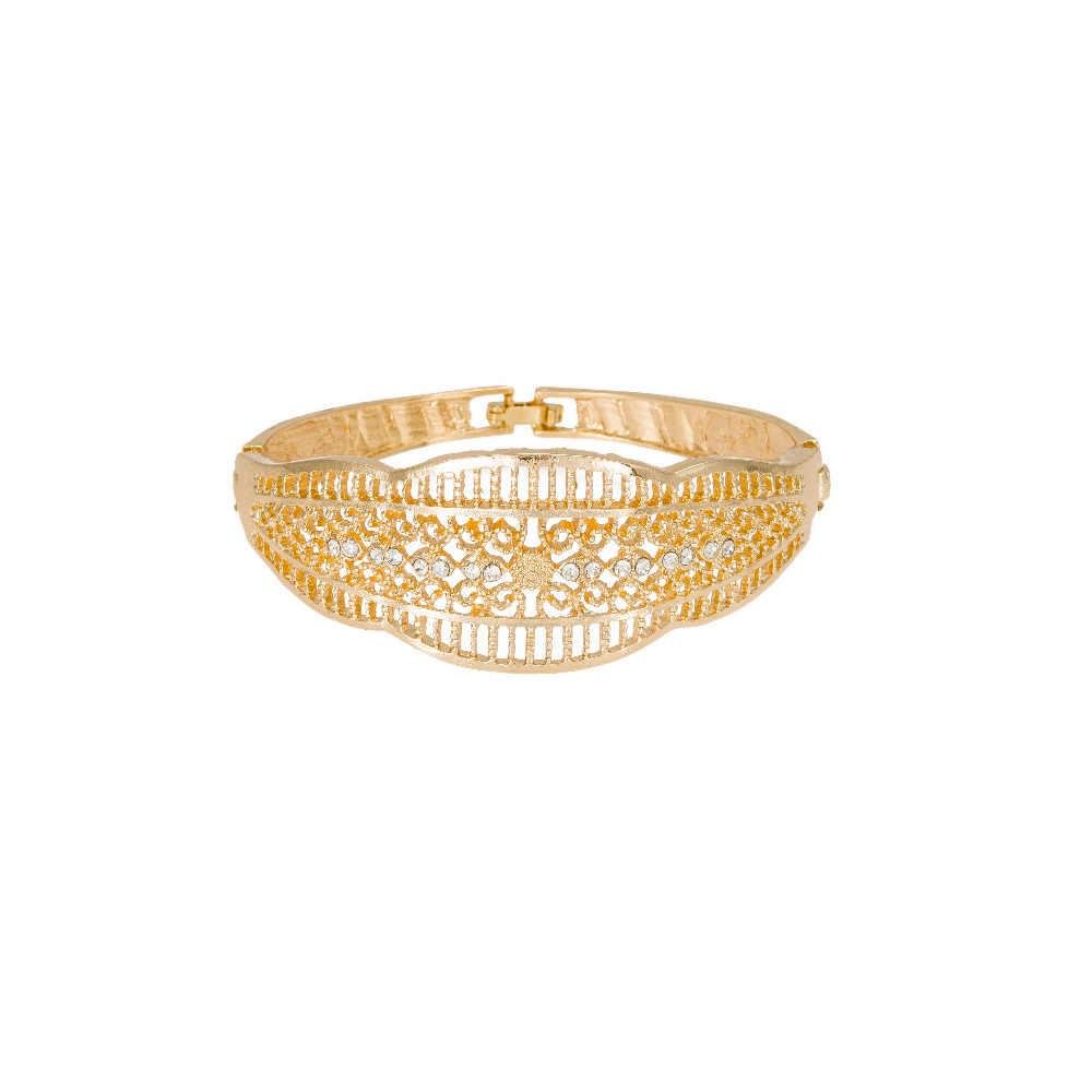 Neueste Ursprüngliche Mode Dubai Gold farbe volle kristall braut hochzeit schmuck setzt Italienische set für frauen Party Zubehör