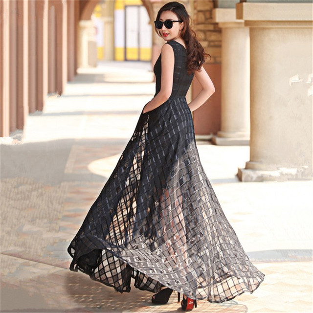 2017 New Women Summer Dress Elegant Ladies Vintage Black Organza Sleeveless Long Beach Maxi Dress Sundress Vestidos Femininos