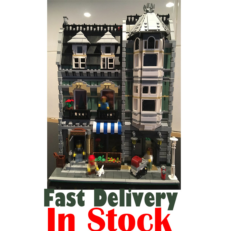 Lepin 15008 2462Pcs City Street Green Grocer Model Building Kits Blocks Bricks Compatible Educational toys For Children 10185 lepin 02012 city deepwater exploration vessel 60095 building blocks policeman toys children compatible with lego gift kid sets