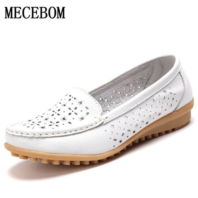 2017 Women Loafers Lady Ballerina Flat Shoes Woman Summer Flats Hollow Out Comfortable Soft Genuine Leather Moccasins cut outs