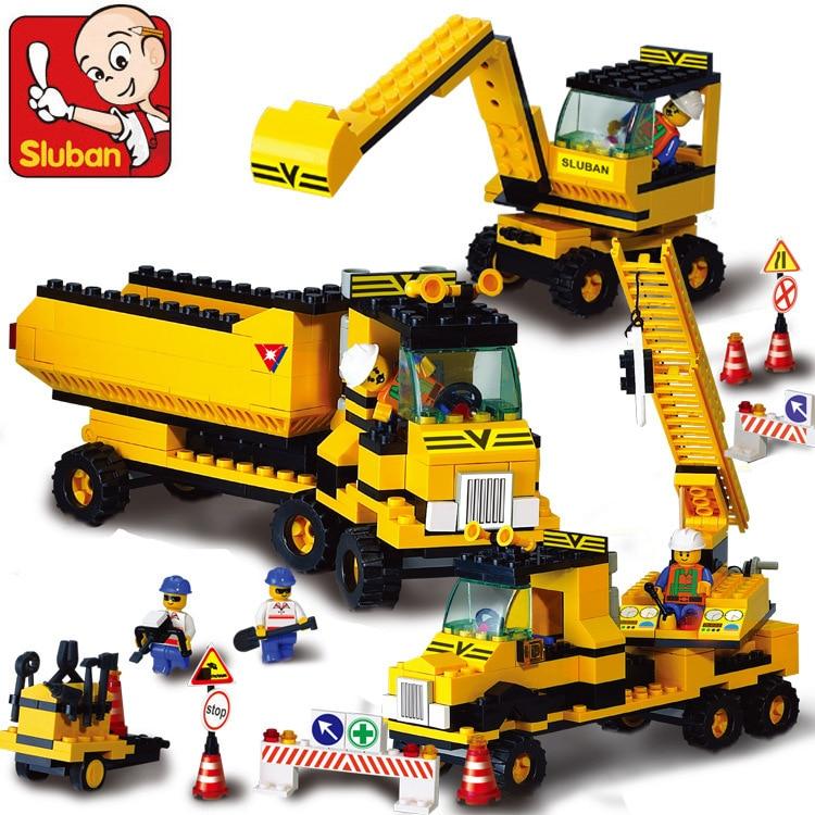 Sluban 2017 New B9700 heavy engineering excavator forklift crane Construction Plastic Model Building Blocks Bricks Free Shipping the underground railroad