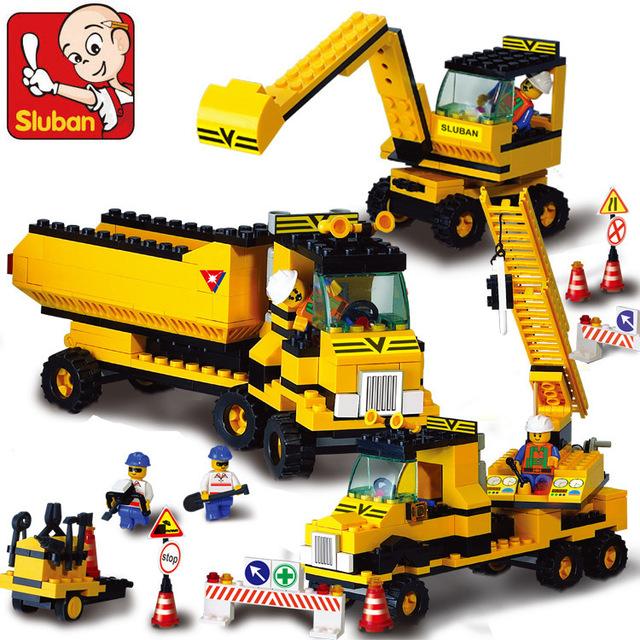 Sluban b9700 pesada excavadora ingeniería carretilla elevadora de la grúa de construcción de plástico modelo building blocks ladrillos compatible con leping