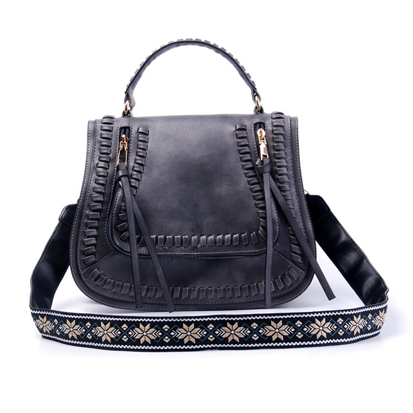 Personalization Faux Leather Guitar Strap Saddle Bags Tassel Shoulder Crossbody Bag Can Be Embroidered in Front