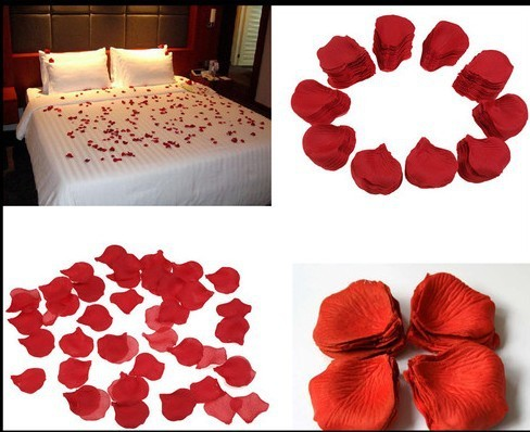 Wholesale 500pcs Dark Red Rose Fake Petals Silk Flowers Table