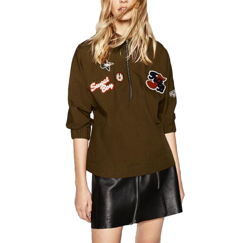 Women cute lips letter patch army green shirts long sleeve ...