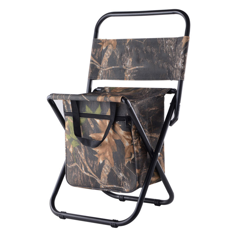 Camo Fishing Camping Chair With Storage Bag Durable Bbq