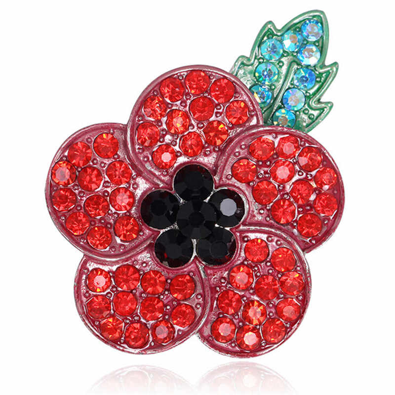 1PC Poppy Vintage Broche Rode Kristal Bloem Badge Pinnen Klaprozen Broach Sieraden 4.5cm * 5.5 cm/1.8in * 2.2in