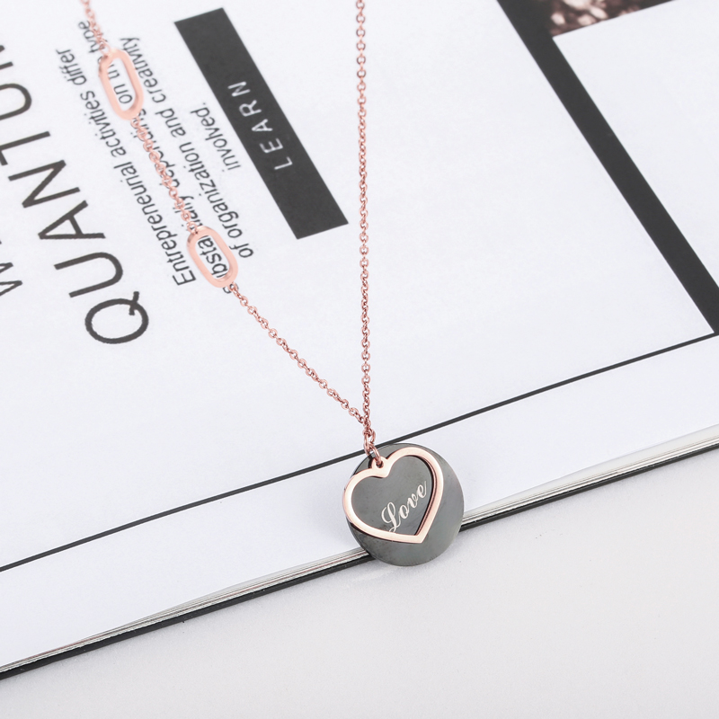 New Arrival Love Letters In Black Circle Above Hollow Heart Woman Pendant Necklace Stainless Steel Woman Necklace Gift Of Lover in Pendant Necklaces from Jewelry Accessories