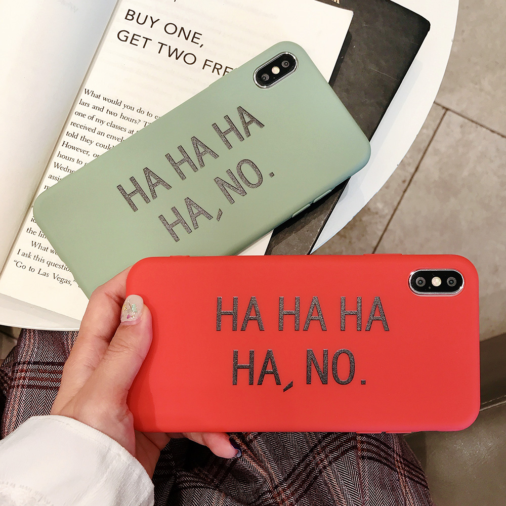KIPX1082_6_JONSNOW Matte Phone Case for iPhone 6S 6P 7 8 Plus HA HA HA HA NO Pattern Soft Silicone Cases for iPhone X XR XS Max