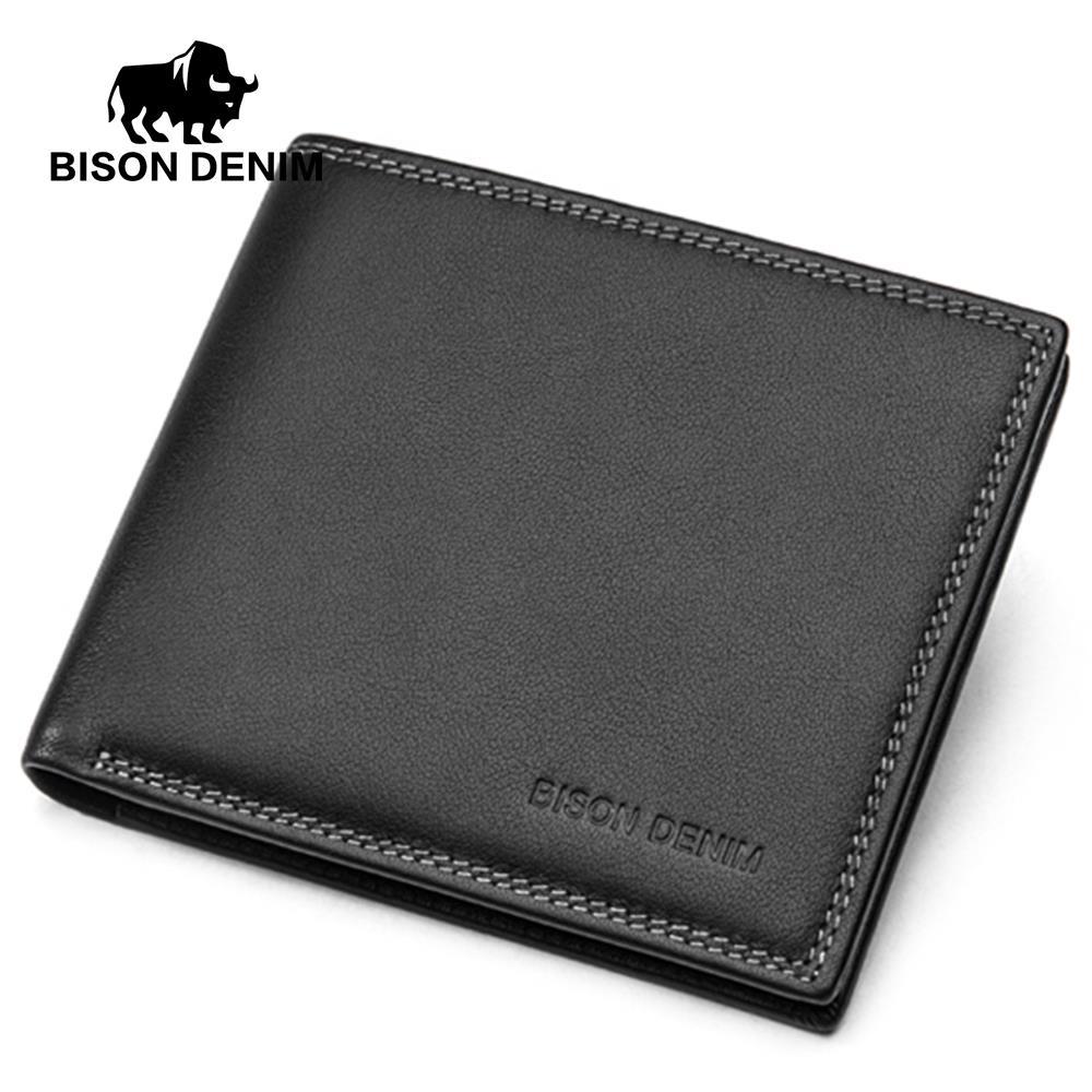 BISON DENIM luxury men wallets genuine leather ID credit card holder purse wallet сумка bison denim n1157 bis0n denim