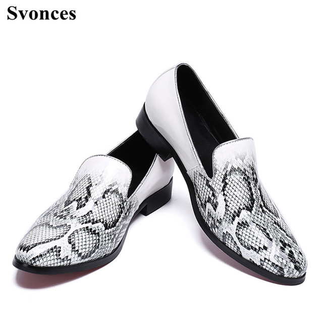 72d7646c51 Svonces White Snake Print Men s Flats Casual Leather Shoes Moccasins Men  Loafers Slip On Fashion Italian Male Driving Shoes