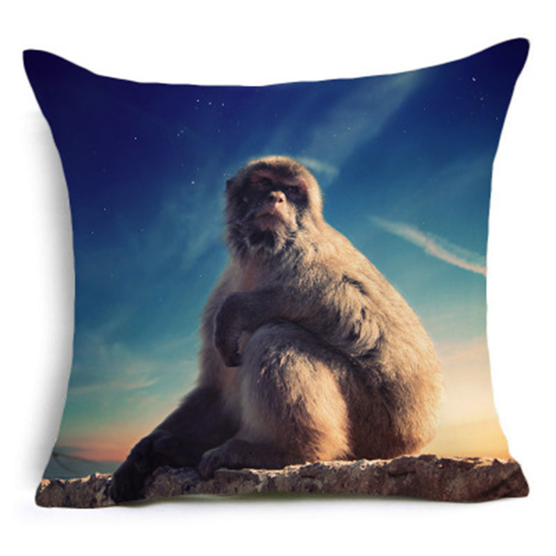 CUSCOV 2018 NEW Painted Animals Cushion Cover Cotton Polyester Horse Elephant Panda Home Decorative Pillow Cover Pillowcase in Cushion Cover from Home Garden