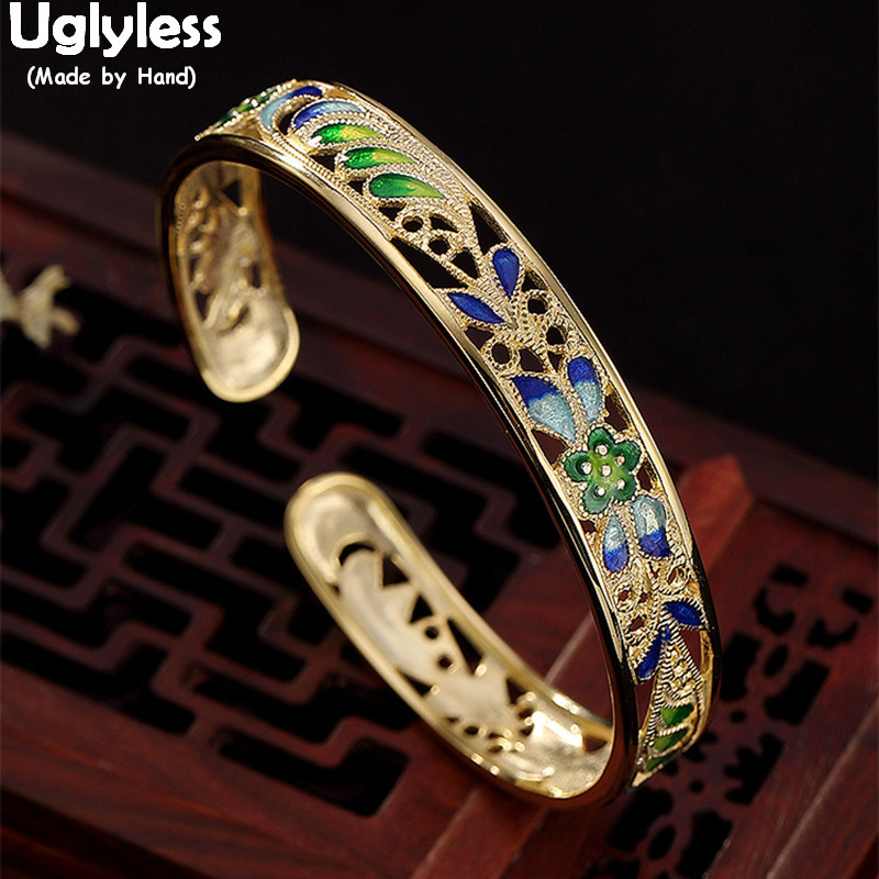 Uglyless Real 925 Sterling Silver Handmade Flower Enamel Bangles for Women Luxury Palace Plated Gold Bangle Wide Hollow Jewelry