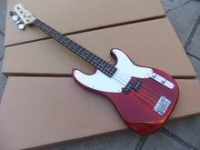 Free Shipping New Cnbald 4 string electric bass guitar In Red 101108