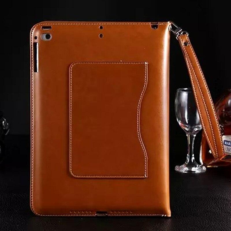 De luxe Mini 4 Cas Portefeuille En Cuir Smart Cover pour Apple iPad Mini 4 Tablet Flip Magnétique Couverture de Stand avec la Carte Slots Main sangle