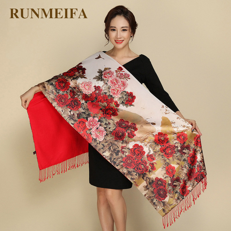 RUNMEIFA Pastoral Style Pashmina Two Sides Wear Women Scarves Silk Cashmere Scarf Retro National Tippet Warm Print Shawl Scarf