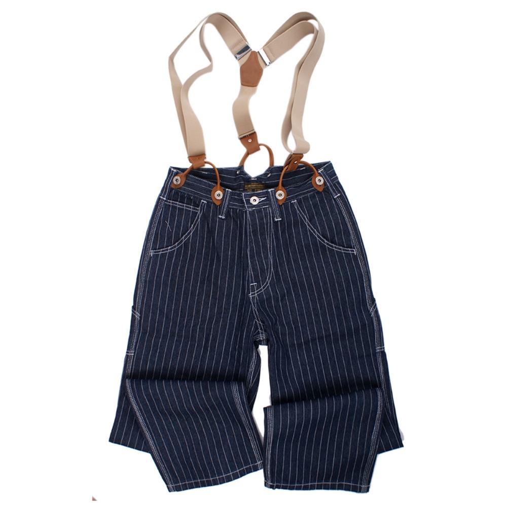 Autumn Winter Stripe Suspenders Jeans Brand Men Cargo Loose Jean Overall Hombre Streetwear Denim Pants England Clothing 2018