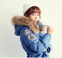 2016 winter Jacket women Down jackets Real raccoon fur hooded plus size waist slim medium-long down coat women's Outwear parka