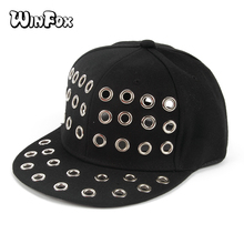 85605371110 Winfox New Punk Fashion Spring Summer Adjustable Women Mens Black Eyelet Hole  Baseball Caps Gorras Snapback