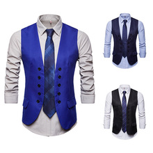 Black/Navy Blue/Royal  Brown Burgundy Double Breasted Vest Men British Style Color Slim Fit Waistcoat